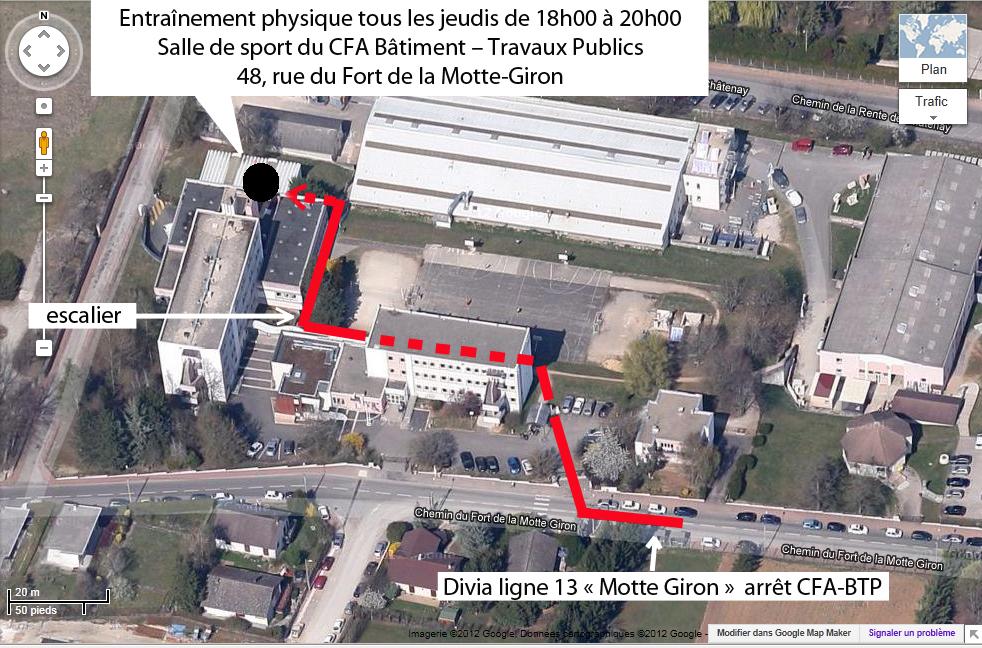 Plan pour localiser la salle entraînement physique au CFA Bâtiment-Travaux Publics